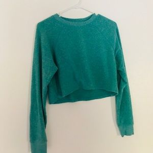 Green Cropped Long Sleeve American Eagle Sweater